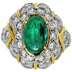 David Webb 18 Karat Yellow Gold, Platinum, Cabochon Emerald, Diamond Bombe Ring