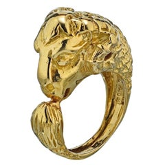 David Webb 18 Karat Yellow Gold Ram Goat Head Vintage Ring
