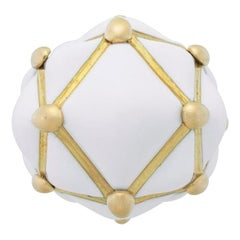 David Webb 18 Karat Yellow Gold Statement 'Geodesic Dome' White Enamel Ring
