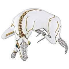 David Webb 18 Karat Yellow Gold White Enamel Diamond Horse Clip-Brooch
