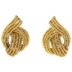 David Webb 18 Karat Yellow Gold Woven Clip-On Earrings