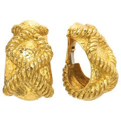 David Webb 18 Karat Yellow Hammered Rope Gold Earrings