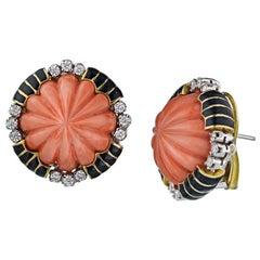 David Webb 18 Yellow Gold Round Orange Coral Diamond Pierced Earrings