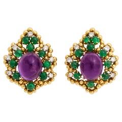 David Webb 18 Karat Amethyst Emerald and Diamond Clip-On Earrings
