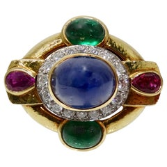 David Webb 18k Gold Precious Stone Cocktail Ring