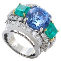 David Webb 18 Karat Gold, Sapphire, Emerald and Diamond Ring
