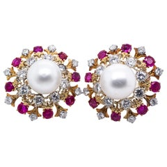 David Webb 18 Karat Gold South Sea Cultured Pearl Diamond and Ruby Earrings