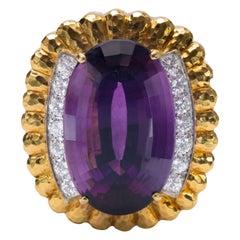 David Webb 18k Platinum, Amethyst and Diamond Brooch