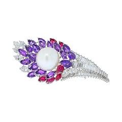 David Webb 18k White Gold Diamond, Amethysts, Ruby and Pearl Brooch
