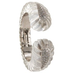 David Webb 18 Karat White Gold, Platinum and Diamond Twilight Cuff Bracelet