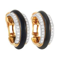 David Webb 18k Yellow Gold 1.26 Ct Diamond and Onyx Earrings
