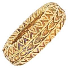David Webb 18k Yellow Gold 1970's Textured Bulky Bangle Bracelet