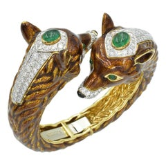 David Webb 18k Yellow Gold and Platinum Double Fox Green Emerald Diamond Cuff