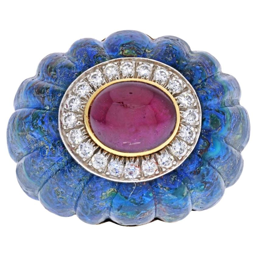 David Webb 18K Yellow Gold Azure-Malachite, Ruby, Diamond Ring