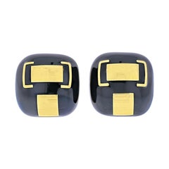 David Webb 18K Yellow Gold Black Enamel Cushion Clip-On Earrings