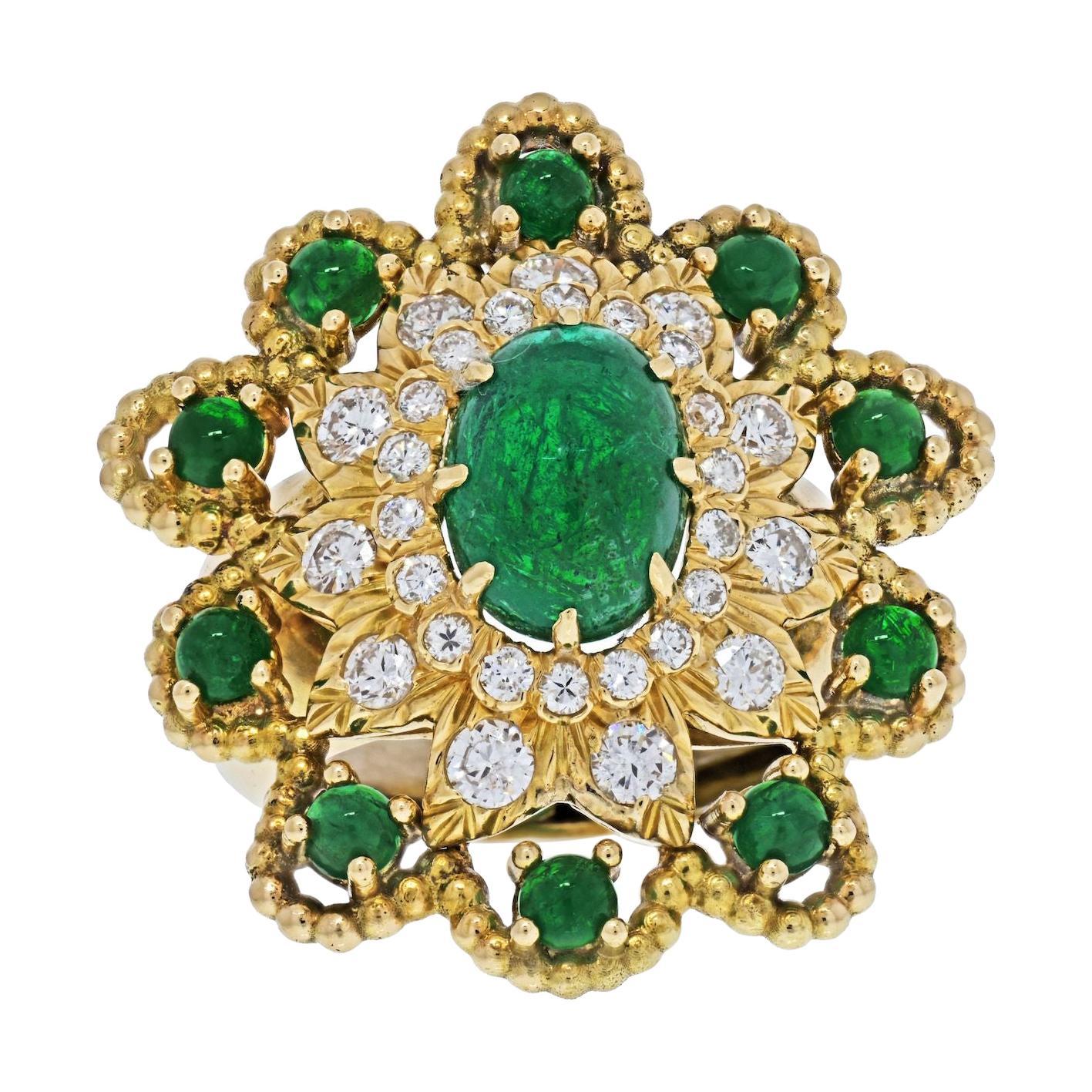 David Webb 18K Yellow Gold Cabochon Emerald Diamond Flower Ring
