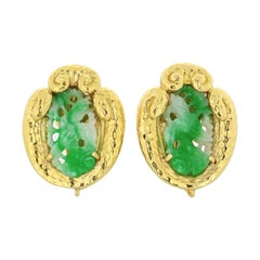 David Webb 18k Yellow Gold Carved Jade Clip-On Earrings