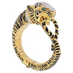David Webb 18K Yellow Gold Diamond and Black Enamel Tiger Bracelet