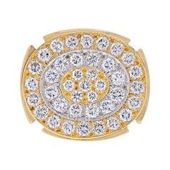 David Webb 18K Yellow Gold Diamond Chunky Cluster Ring