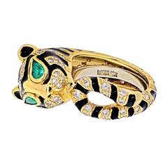 David Webb 18k Yellow Gold Diamonds, Emeralds, Black Enamel Tiger Ring