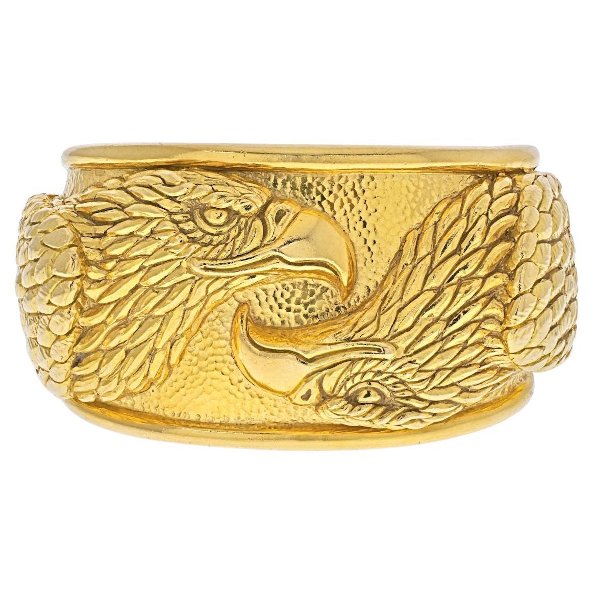 David Webb 18K Yellow Gold Double Head Eagle Cuff Bracelet