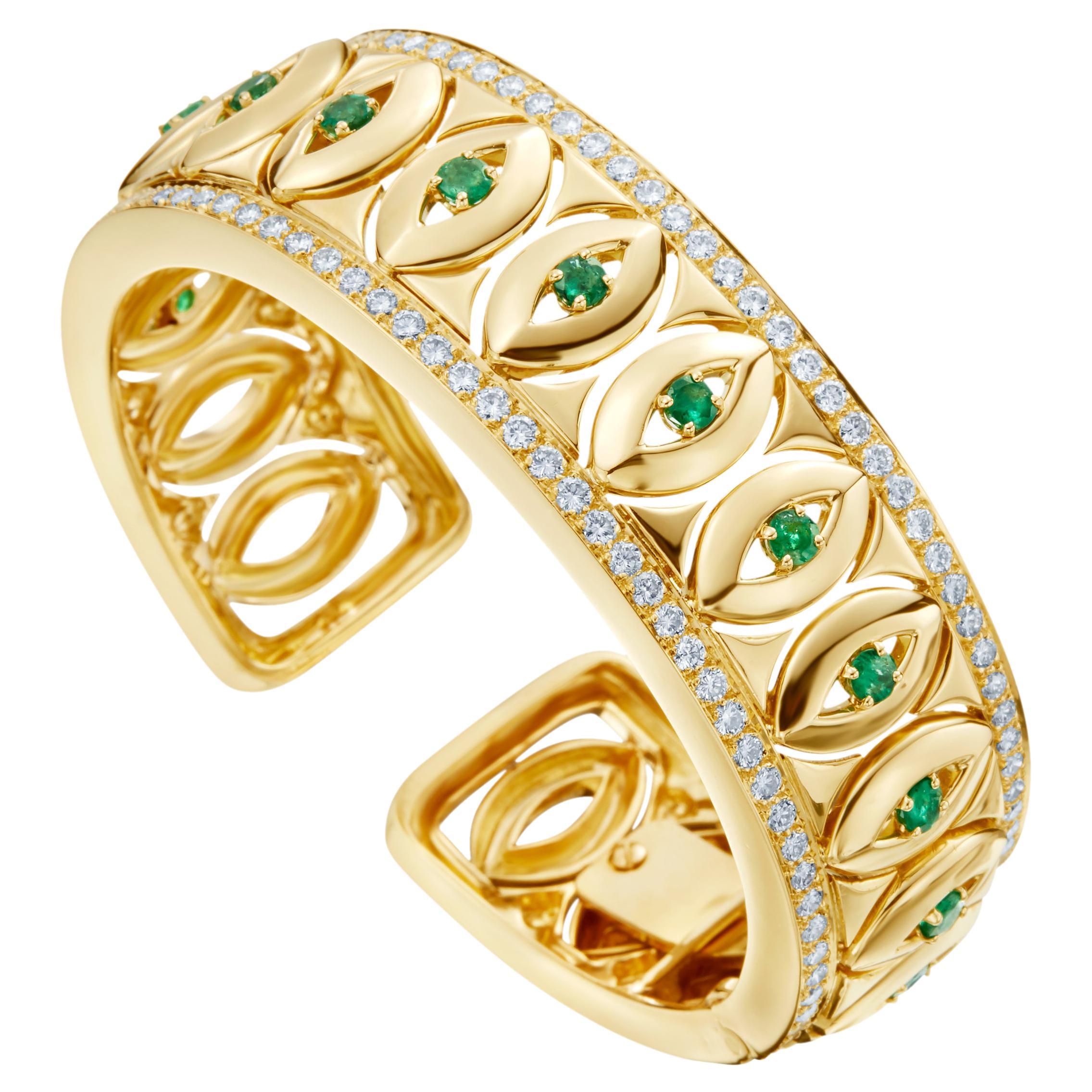 David Webb 18k Yellow Gold Emerald and Diamond Bangle