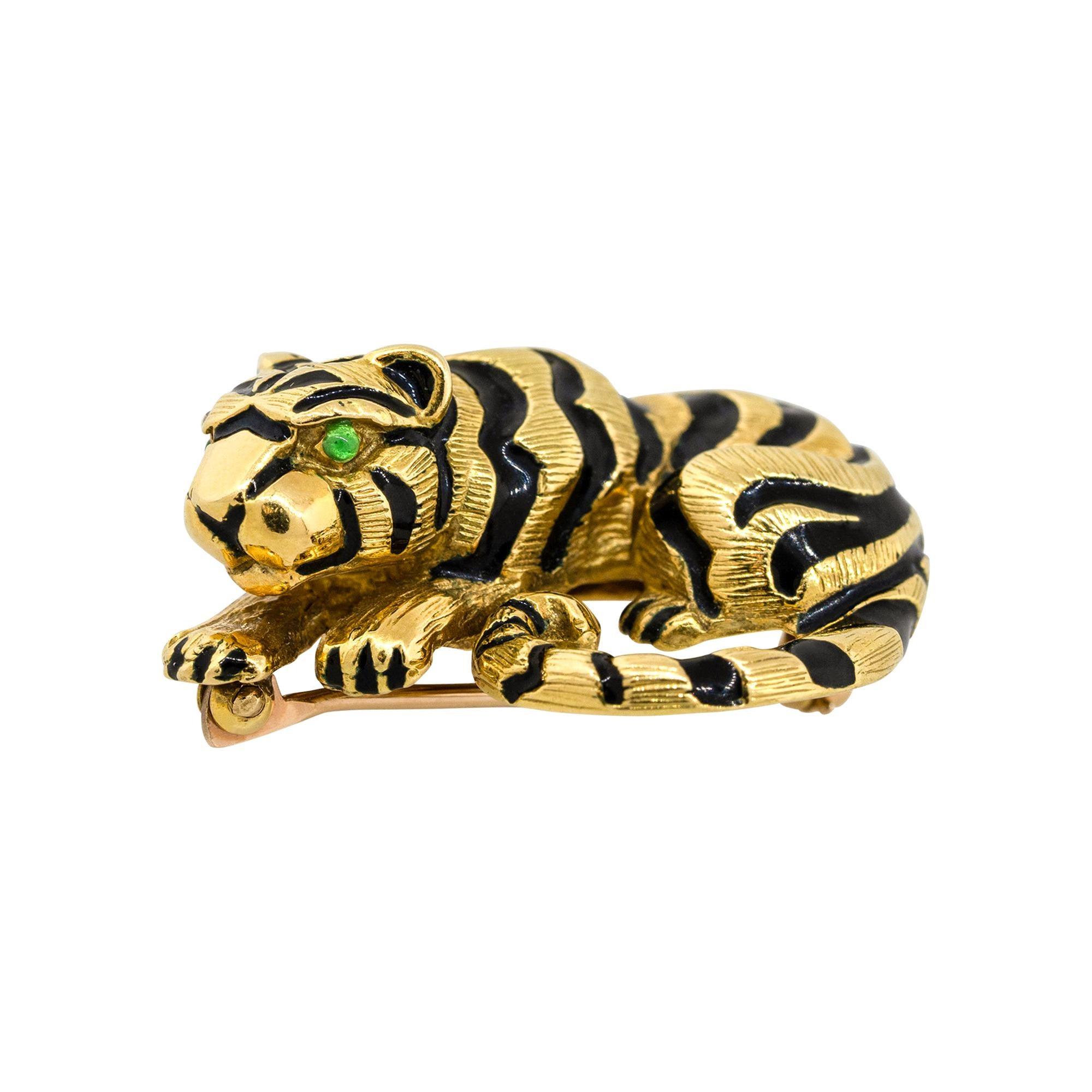 David Webb 18k Yellow Gold Emerald Enamel Tiger Pin