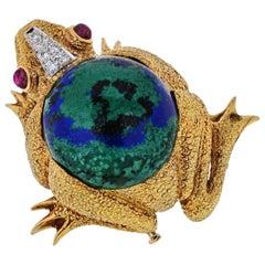 David Webb 18K Yellow Gold Frog with Azurite-Malachite, Diamonds, Ruby Brooch