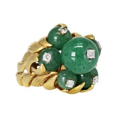 David Webb 18K Yellow Gold Green Chrysoprase and Diamond Estate Ring