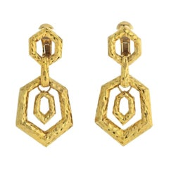 David Webb 18k Yellow Gold Hammered Door Knocker Earrings