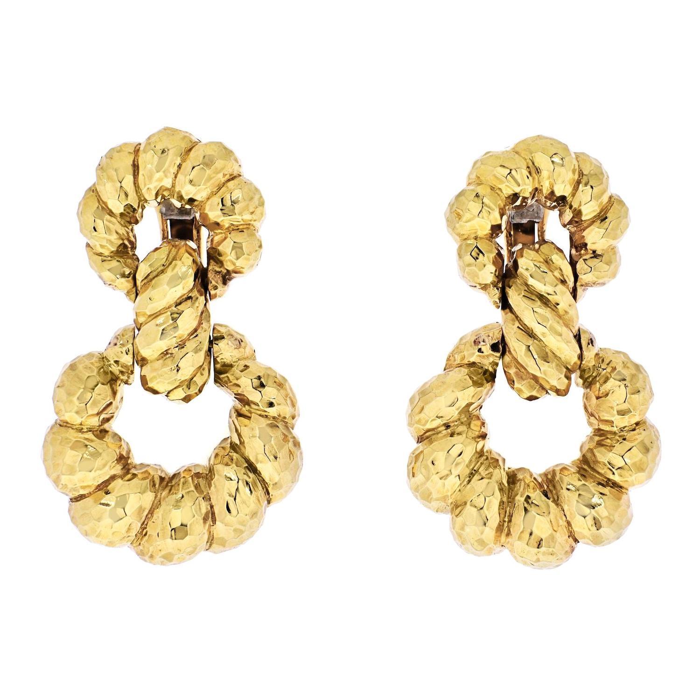 David Webb 18K Yellow Gold Hammered Hoop Pierced Earrings