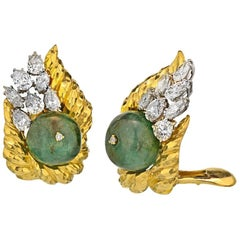 David Webb 18K Yellow Gold Hammered Platinum Emerald Bead and Diamond Earclips