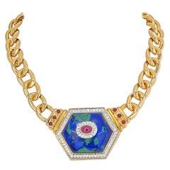 David Webb 18K Yellow Gold Hexagonal-Shaped Azurmalachite Necklace