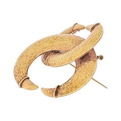 David Webb 18k Yellow Gold Interlocking Crecent Hammered Brooch