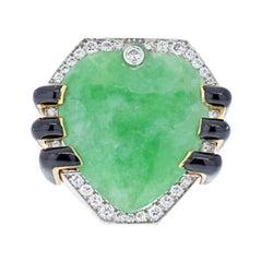 David Webb 18K Yellow Gold Jade, Diamond, Black Enamel Statement Ring