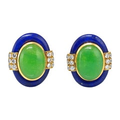 David Webb 18k Yellow Gold Lapis, Jadeite, and Diamond Clip-On Earrings