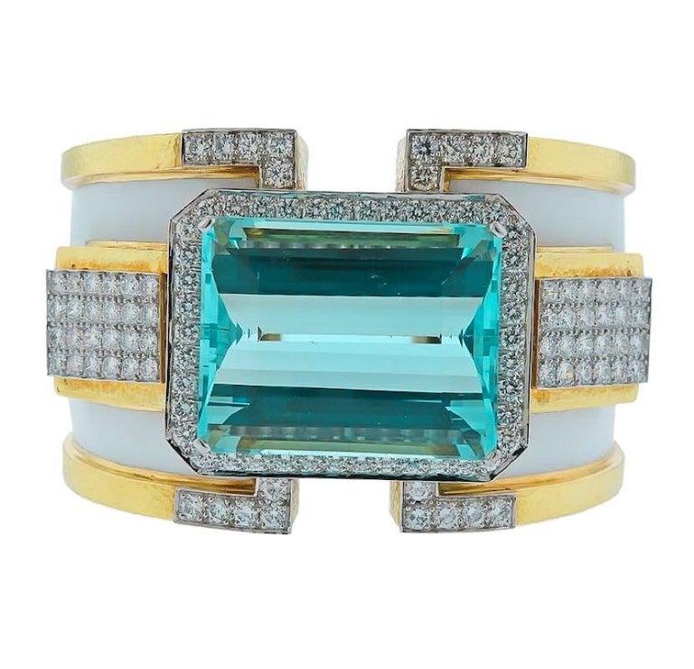 Modern David Webb 18K Yellow Gold Large Aquamarine And Diamond Bangle Cuff Bracelet For Sale