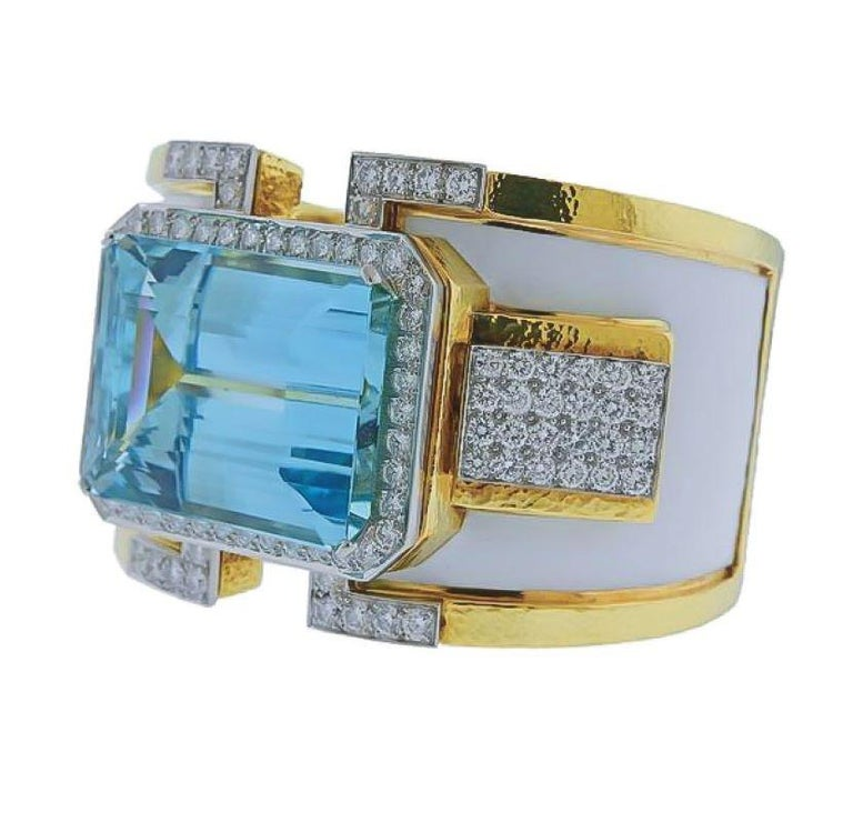 Emerald Cut David Webb 18K Yellow Gold Large Aquamarine And Diamond Bangle Cuff Bracelet For Sale
