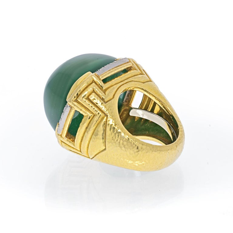 Modern David Webb 18k Yellow Gold Large Green Chalcedony Ring For Sale