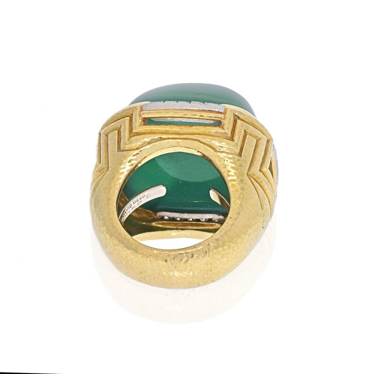 Cabochon David Webb 18k Yellow Gold Large Green Chalcedony Ring For Sale