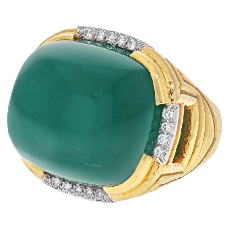 David Webb 18k Yellow Gold Large Green Chalcedony Ring For Sale