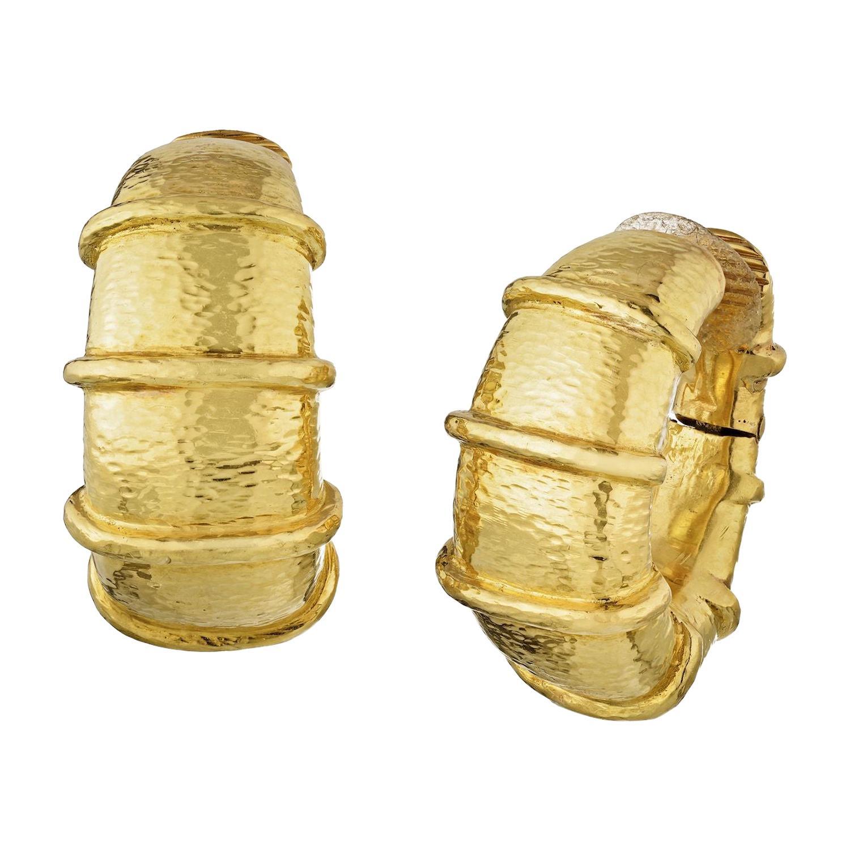 David Webb 18k Yellow Gold Large Shrimp Hoop Earrings