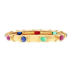 David Webb 18K Yellow Gold Multi Color Gemstone Bracelet