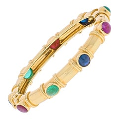 David Webb 18k Yellow Gold Multi Color Gemstone Ladies Bracelet