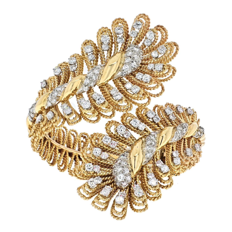David Webb 18k Yellow Gold Ornate Crossover Diamond Bracelet