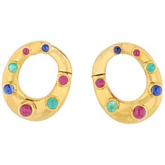 David Webb 18K Yellow Gold Oval Shaped Sapphires, Emeralds and Rubies Earrings