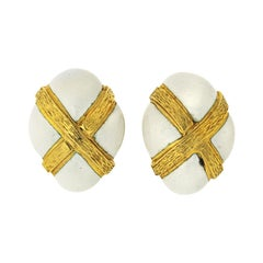 David Webb 18k Yellow Gold Oval White Enamel Earrings
