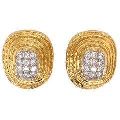 David Webb 18K Yellow Gold, Platinum, Diamond Earrings