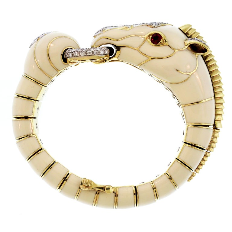 Round Cut David Webb 18 Karat Gold Platinum White Enamel Diamond Ruby Horse Zebra Bracelet