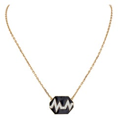 "David Webb 18K Yellow Gold ""Skip"" Black Enamel Diamond Pendant"